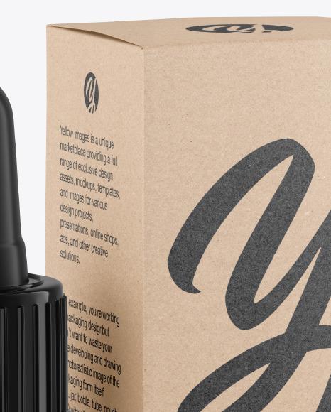 Dark Amber Glass Dropper Bottle w/ Kraft Box Mockup