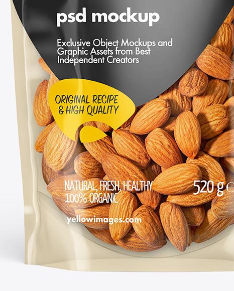 Clear Plastic Pouch w/ Almonds Mockup