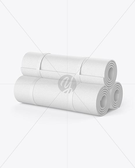 Three Rubber Yoga Mats Mockup