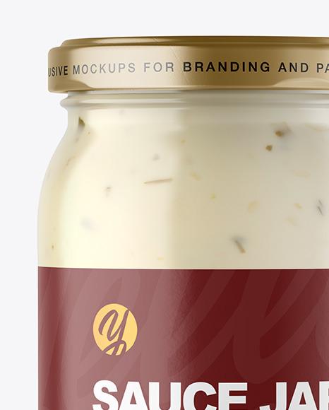 Clear Glass Jar with Tar Tar Sauce Mockup