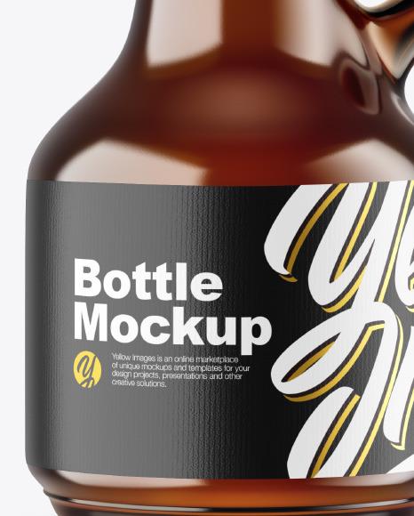 Dark Amber Glass Bottle Mockup