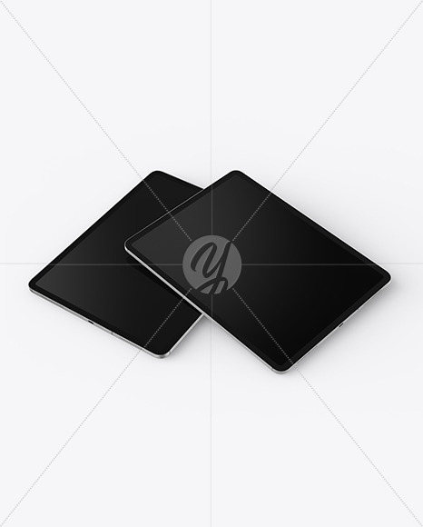 Two iPads Pro Silver Mockup
