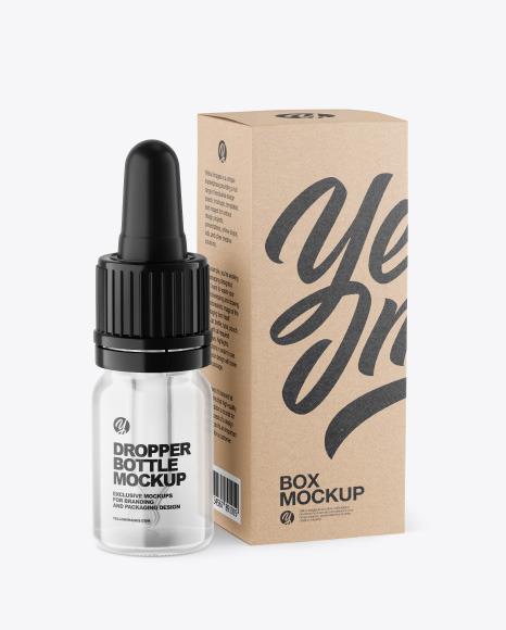 Clear Glass Dropper Bottle w/ Kraft Box Mockup