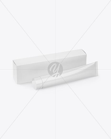 Download Cosmetic Tube w/ Box Mockup Jersey Mockups
