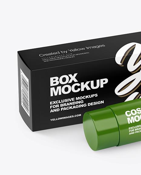 Cosmetic Tube w/ Box Mockup