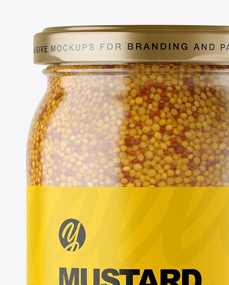 Clear Glass Jar with Wholegrain Mustard Mockup