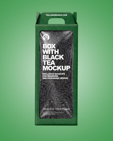 Kraft Box with Black Tea Mockup