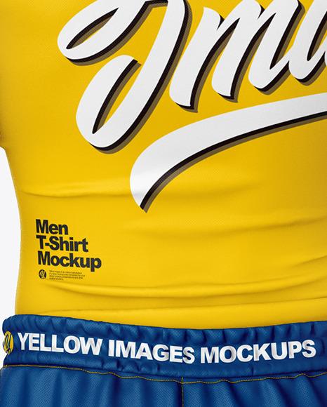 Men Compression T-Shirt and Shorts Mockup – Back View
