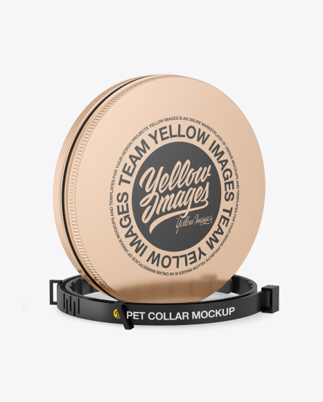 Metallic Round Tin Box w/ Pet Collar Mockup