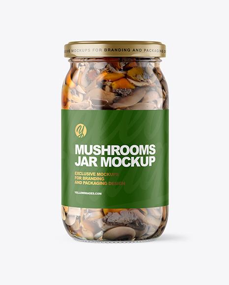Clear Glass Jar with Mushrooms Mockup