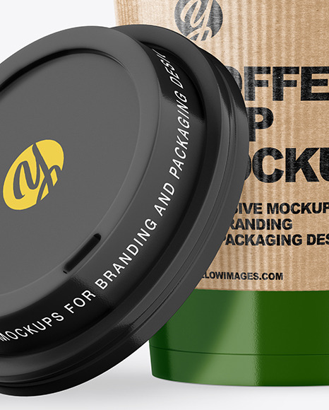 Glossy Opened Coffee Cup with Holder Mockup