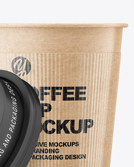 Kraft Opened Coffee Cup with Holder Mockup