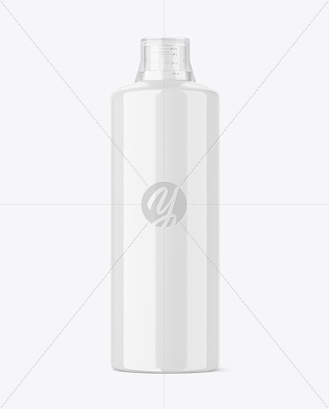 Glossy Plastic Bottle with Measuring Cap Mockup