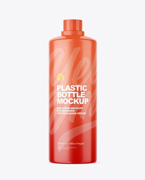 Matte Plastic Bottle with Measuring Cap Mockup