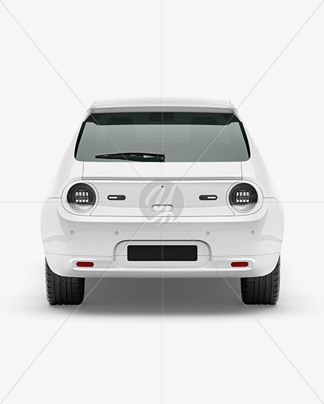 Compact Electric Car Mockup - Back View - Yellowimages Mockups