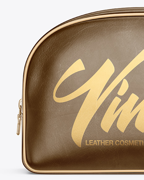 Leather Cosmetic Bag Mockup - Front View