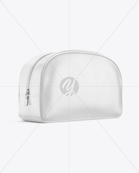 Leather Cosmetic Bag Mockup - Half Side View
