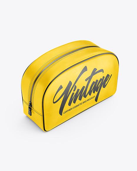 Leather Cosmetic Bag Mockup - Half Side View (High-Angle Shot)