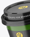 Glossy Coffee Cup with Holder Mockup