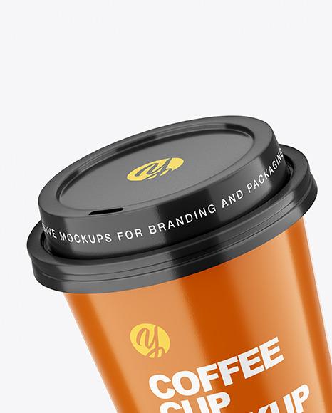 Two Glossy Coffee Cups Mockup