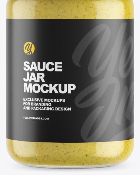 Clear Glass Jar w/ Mustard Mockup