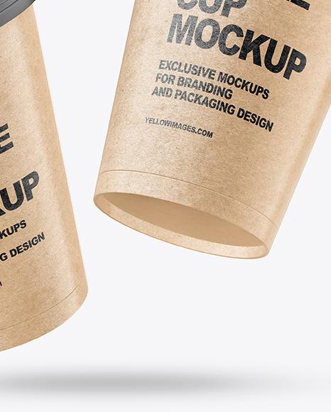 Two Kraft Coffee Cups Mockup