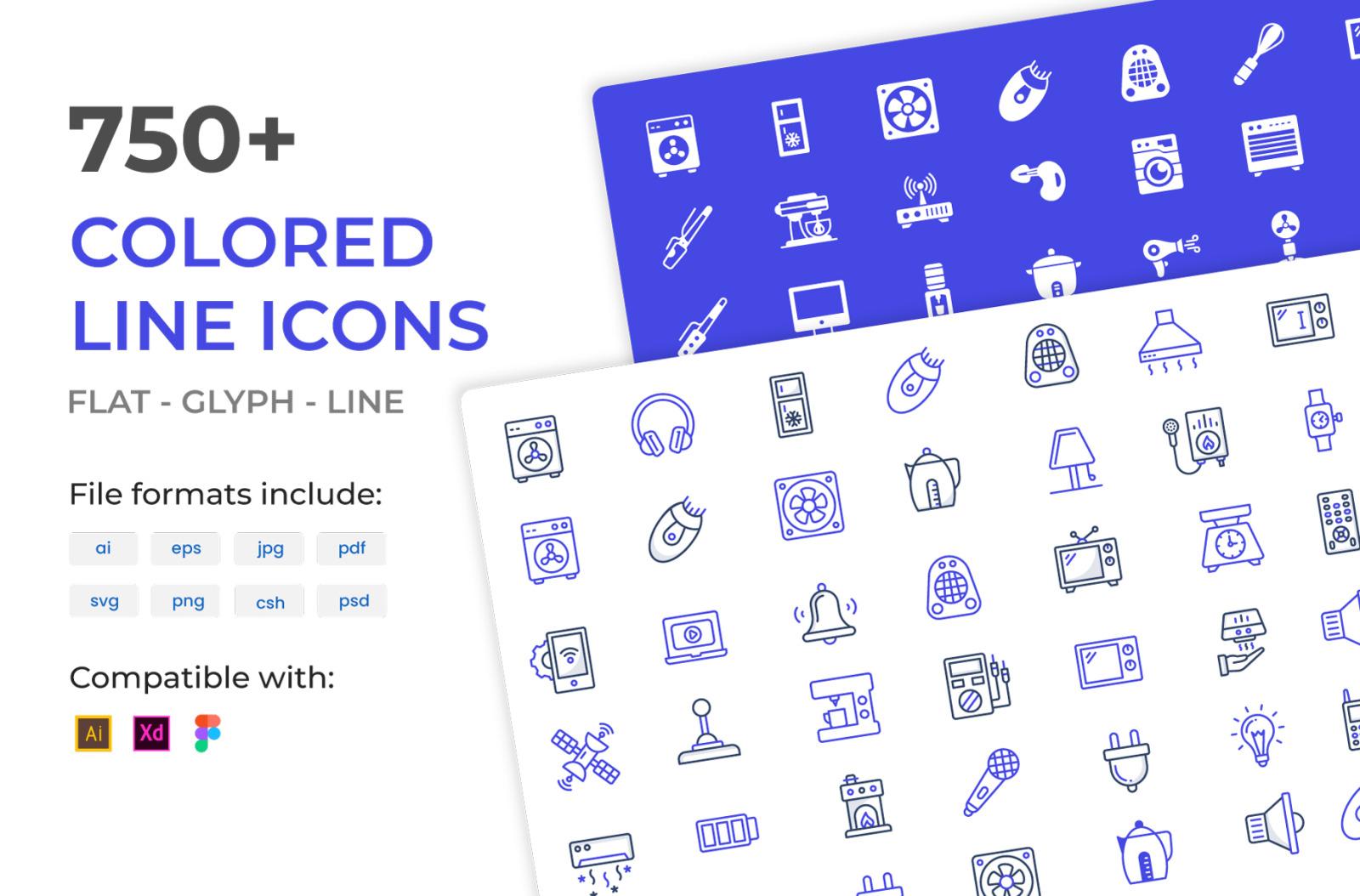 750+ Colored Line Icon
