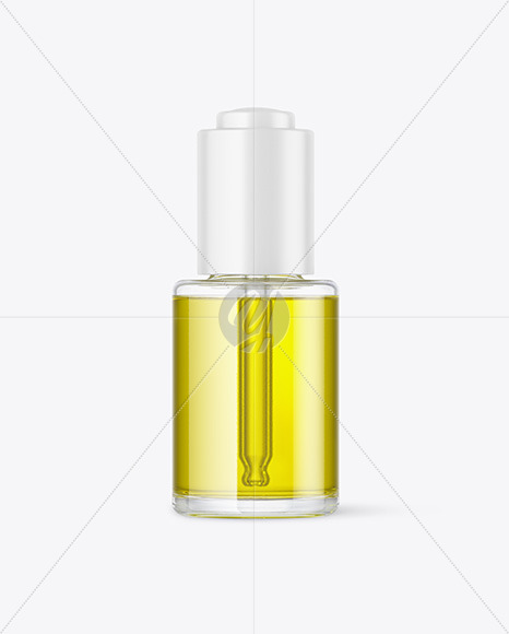 Clear Glass Dropper Bottle with Oil Mockup