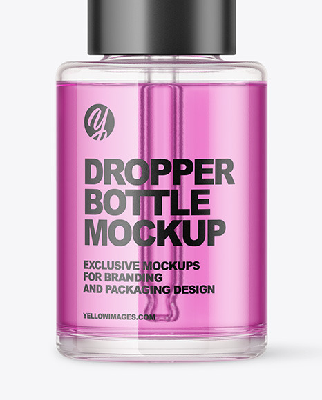 Color Liquid Glass Dropper Bottle Mockup