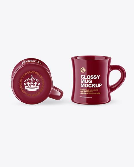 Two Glossy Mugs Mockup