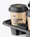 Kraft Coffee Cups in Paper Holder Mockup