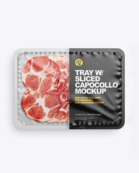 Plastic Tray with Matte Film & Capocollo Mockup