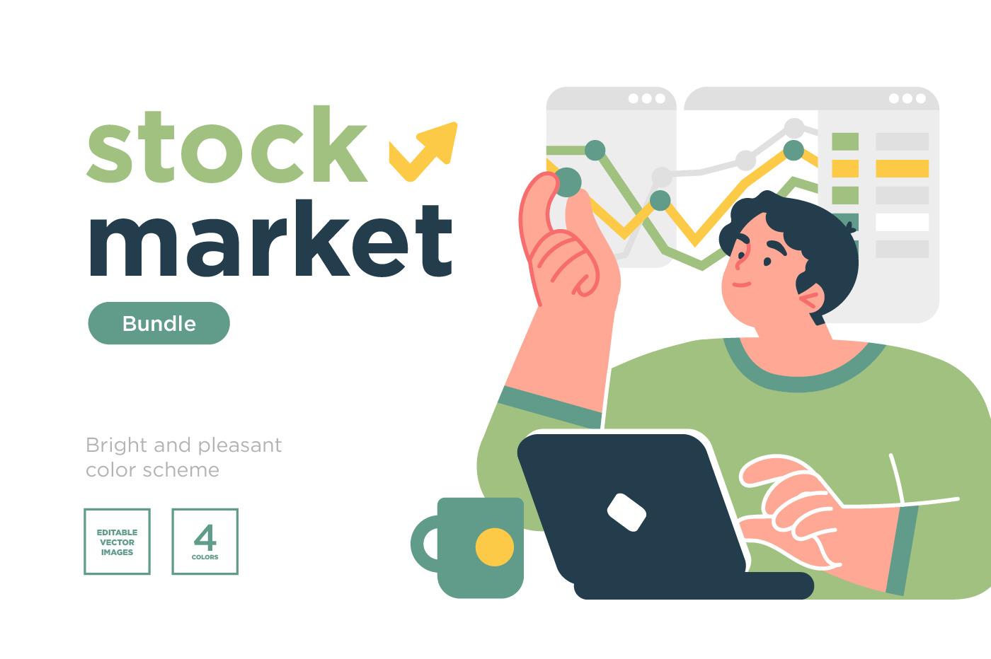 Stock trading, stakeholder, investment, analysis,  concepts illustration set.