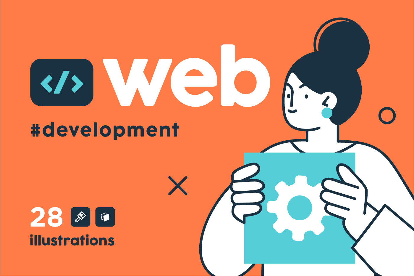 Programming Illustration Set. Different characters working on web and application development