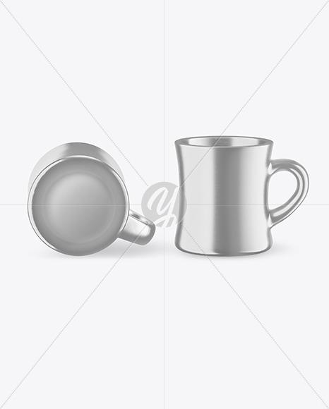 Two Metallic Mugs Mockup