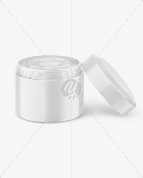 Opened Matte Cosmetic Jar Mockup