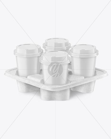 Matte Coffee Cups in Kraft  Paper Holder Mockup