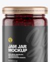 Clear Glass Jar w/ Raspberry Jam Mockup