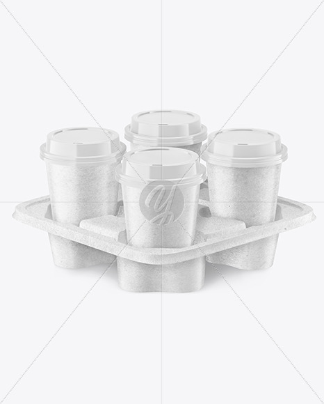 Kraft Coffee Cups in Kraft  Paper Holder Mockup