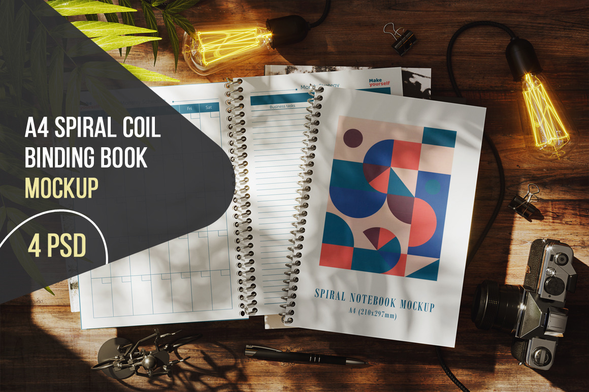 А4 Spiral Coil Binding Book Mockup