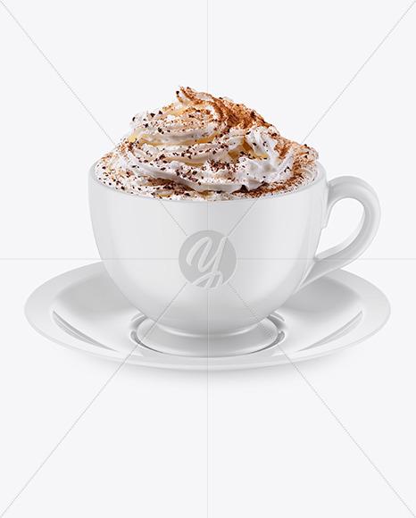 Glossy Coffee Cup w/ Plate Mockup