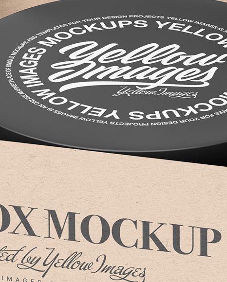 Kraft Paper Box with Cosmetic Jar Mockup