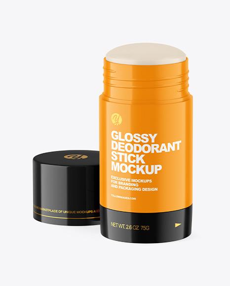 70g Glossy Plastic Deodorant Stick Mockup