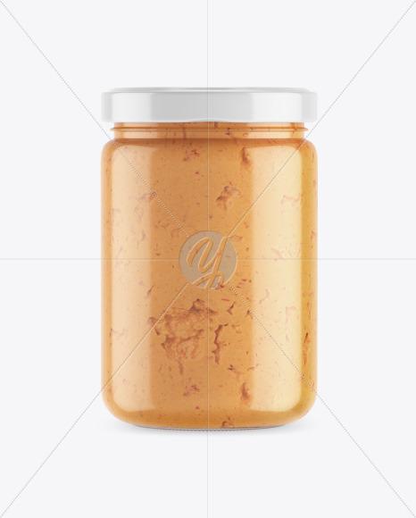Clear Glass Jar w/ Chilli Spread Mockup