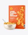 Bowl and Box with Corn Flakes Mockup
