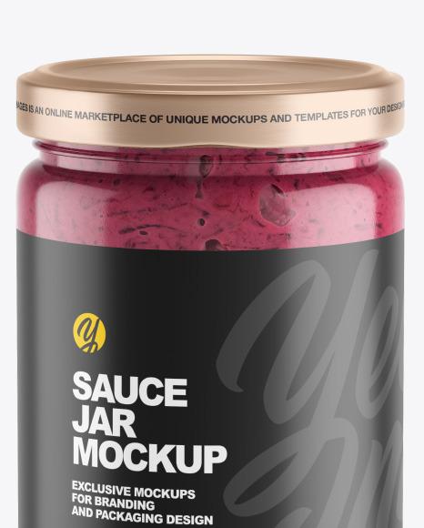 Clear Glass Jar w/ Beet Sauce Mockup