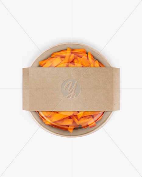 Paper Bowl With Carrots Mockup