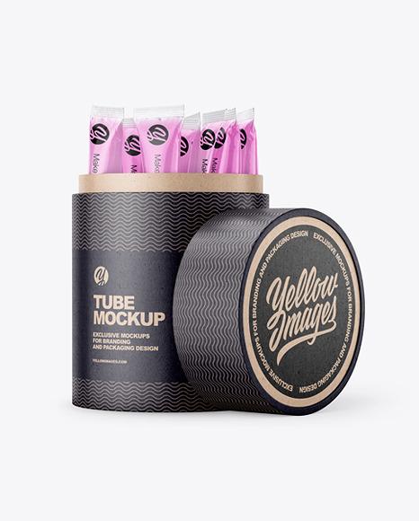 Opened Kraft Paper Tube With Sachets Mockup
