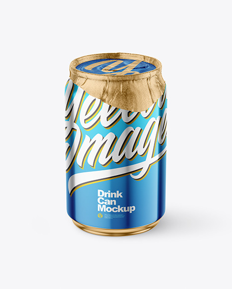 250ml Glossy Metallic Drink Can w/ Foil Lid Mockup