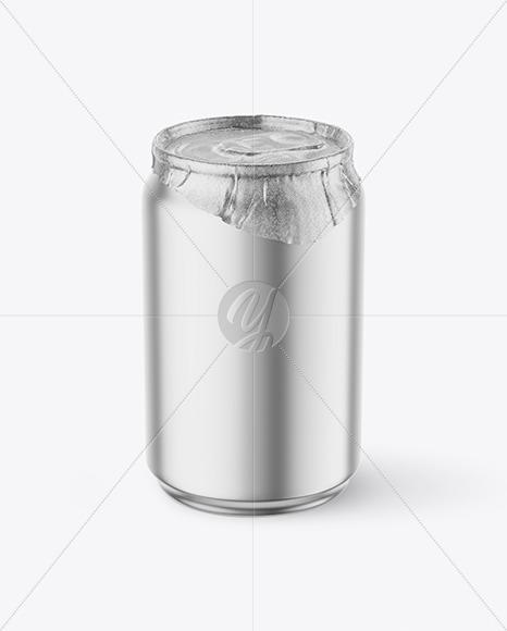 250ml Matte Metallic Drink Can w/ Foil Lid Mockup